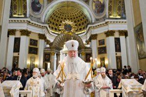 15 октября 2019 года Святейший Патриарх Московский и всея Руси Кирилл совершил Божественную литургию в Троицком соборе Свято-Троицкой Александро-Невской лавры в Санкт-Петербурге